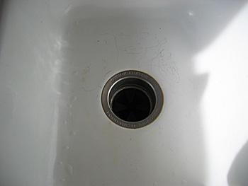 scratched sink